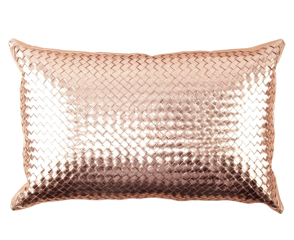 Bling Copper Gold Leather Pillow - Lumbar