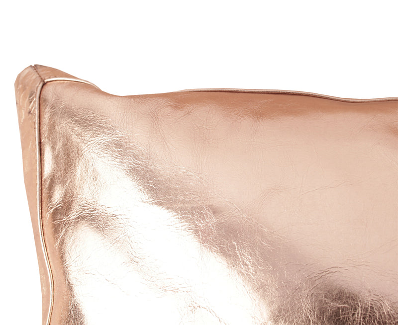 Lance Wovens Bling Copper Gold Leather Pillow