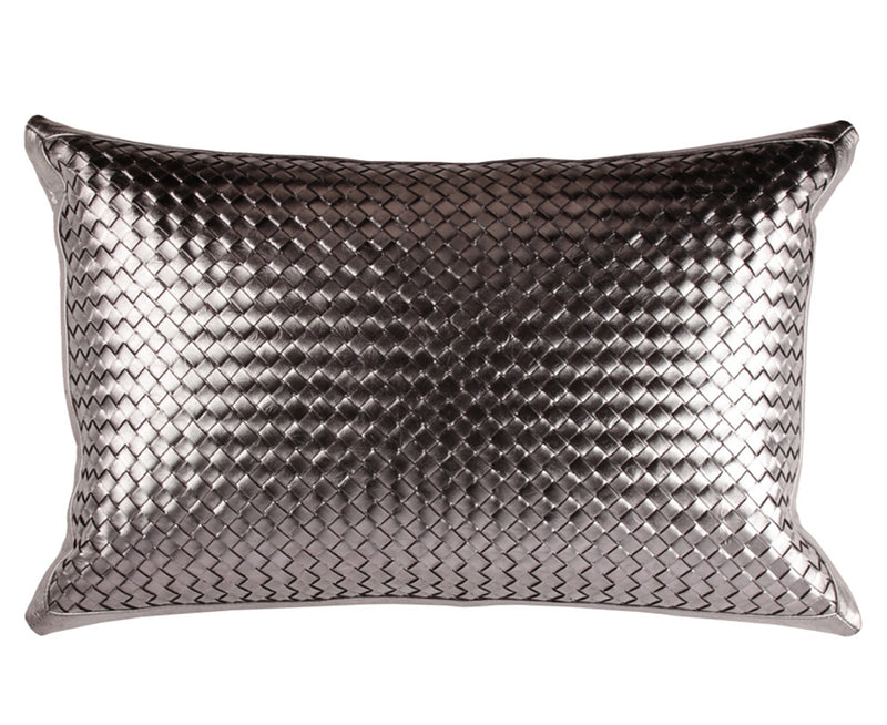 Bling Gunmetal Leather Pillow - Lumbar