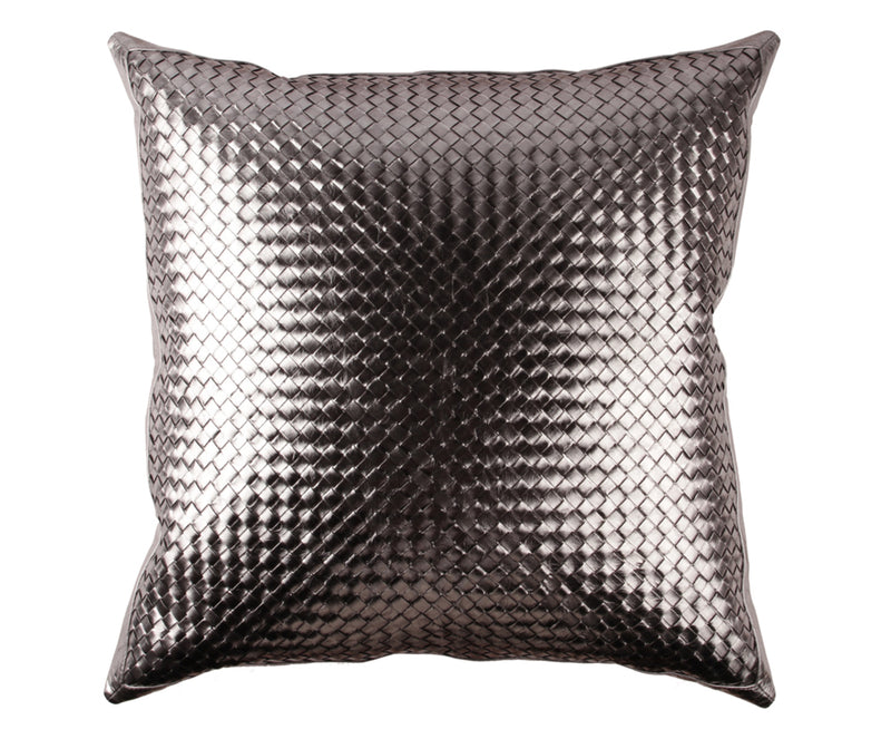 Bling Gunmetal Leather Pillow