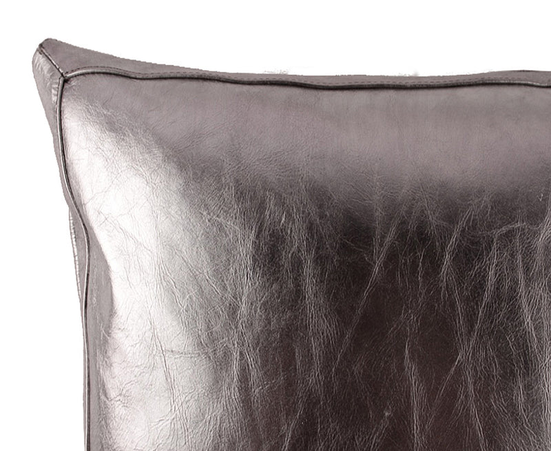 Bling Gunmetal Leather Pillow - Lance Wovens