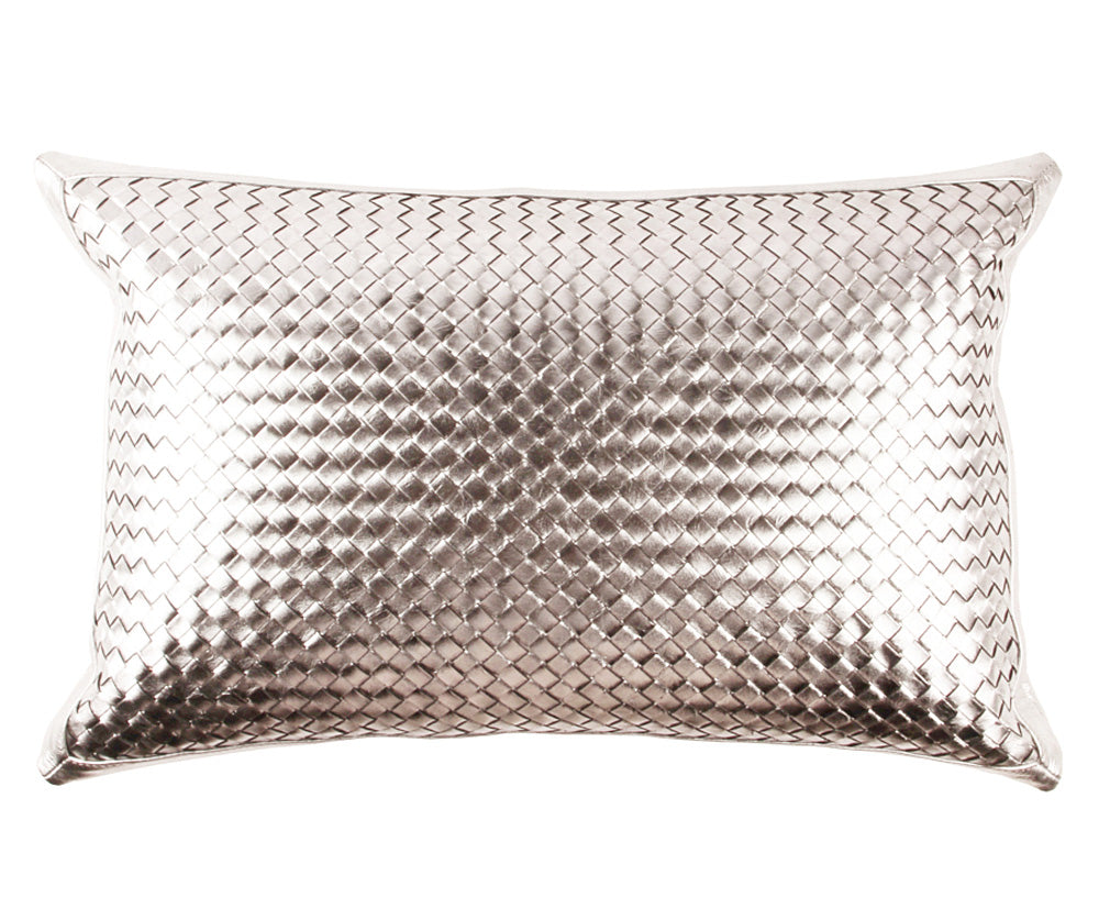 Bling Warm Silver Leather Pillow - Lumbar