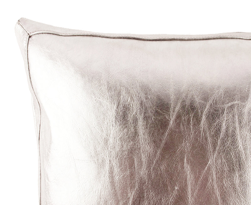 Bling Warm Silver Leather Pillow - Lance Wovens