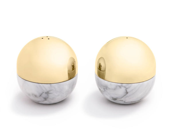 Dual Salt & Pepper Shakers - Gold / Marble | DSHOP