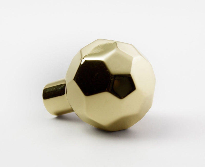 Facet-02L Knob (Large) - Polished Brass