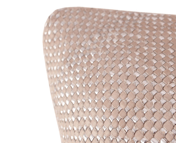 Woven Mini Bling Clay Silver Leather Pillow