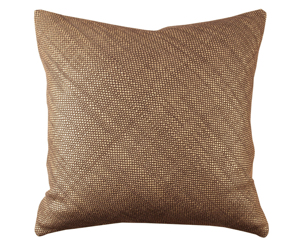 Mini Bling Espresso Gold Leather Pillow