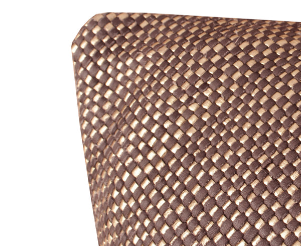 Woven Mini Bling Espresso Gold Leather Pillow