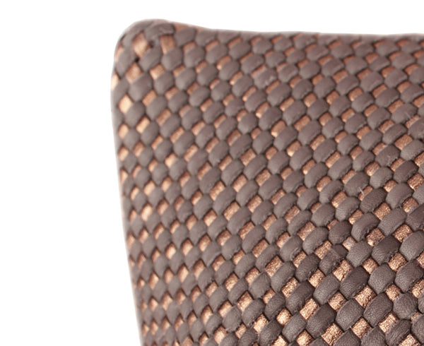 Mini Bling London Bronze Woven Leather Pillow