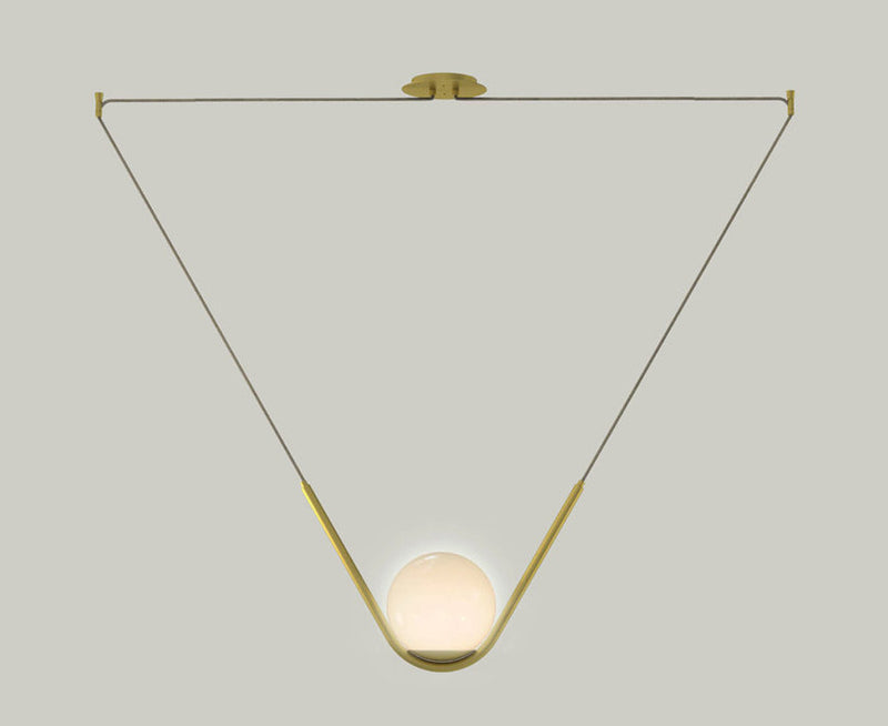 Perle 1 Pendant Light - Brass & Hand blown Glass