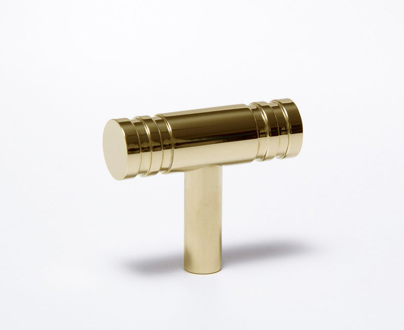 Reveal-02 T-Knob in Polished Brass