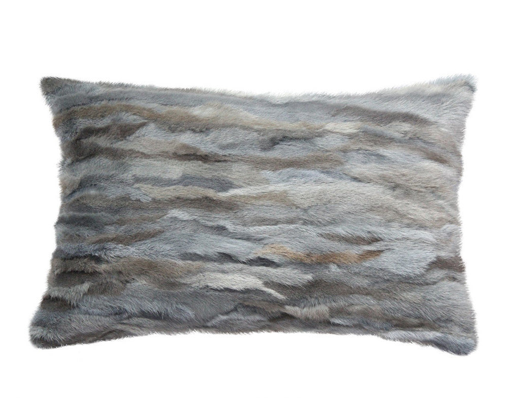 Venezia Fur Pillow - Grey Blue