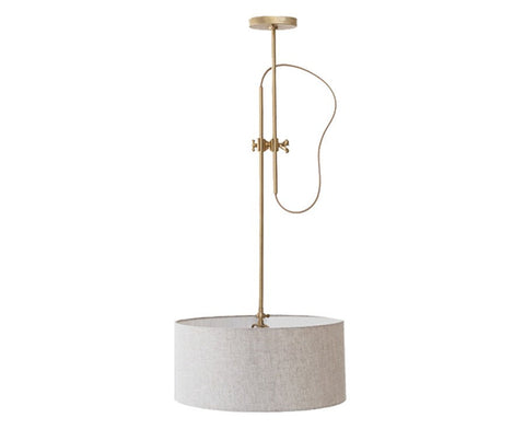 Shaded Brass Pendant Lamp