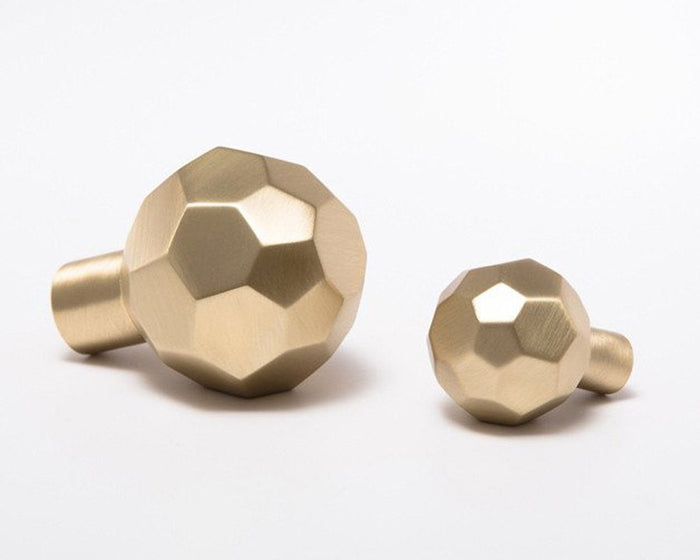 Facet-02 Knob - Satin Brass