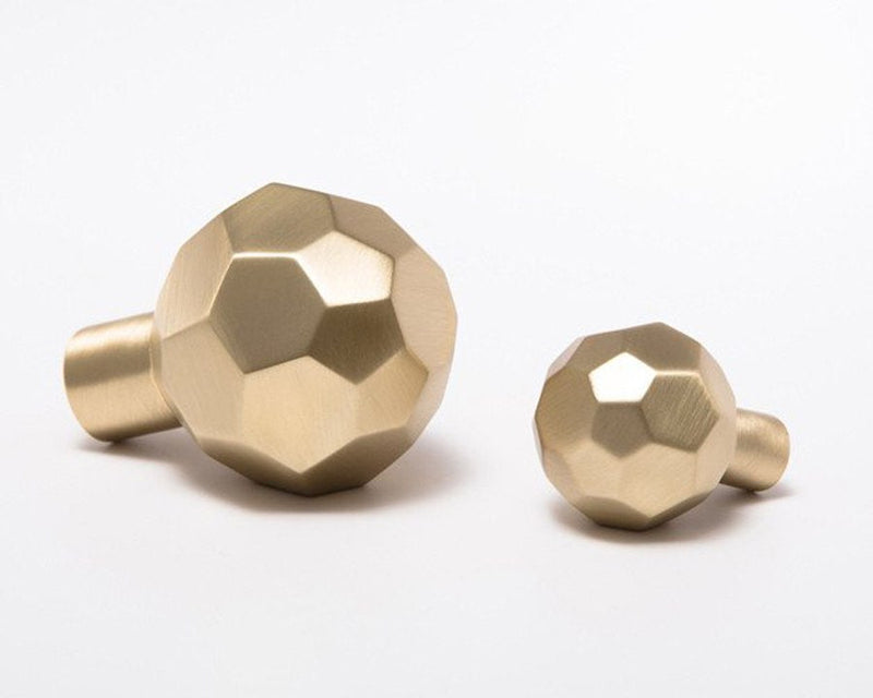 Facet-02L Knob (Large) - Satin Brass
