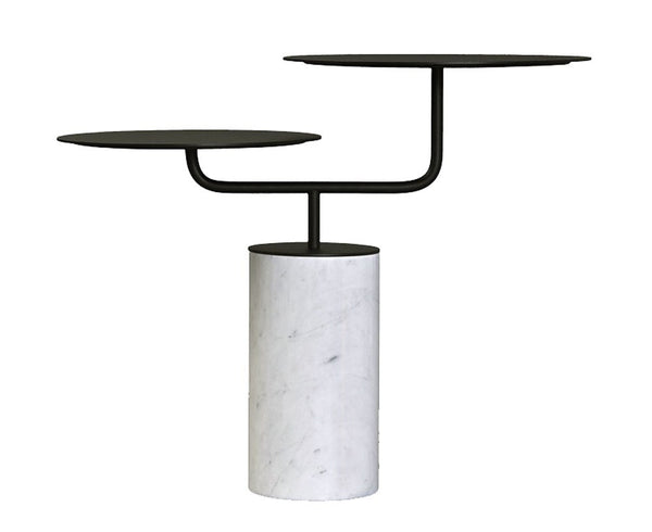 Groom Side Table in Marble & Lacquered Metal