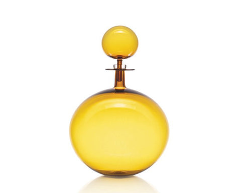 Cariati Low Round Decanter - Large - Amber Yellow
