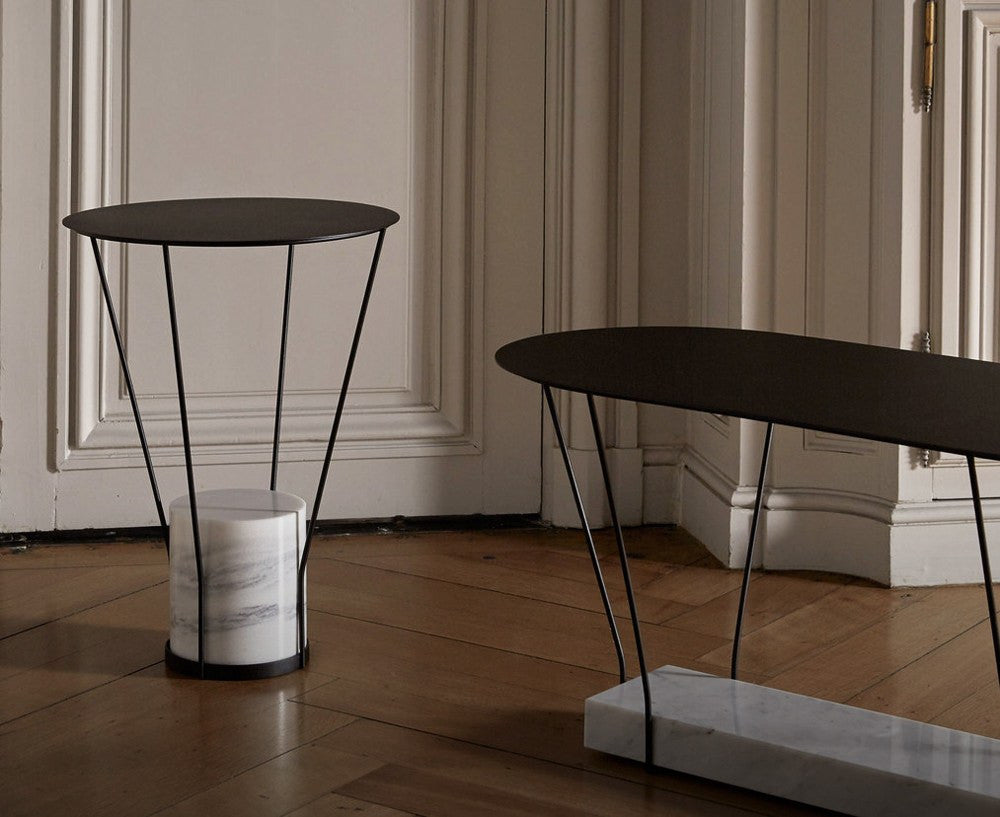 Lest L Side Table in Marble & Lacquered Metal