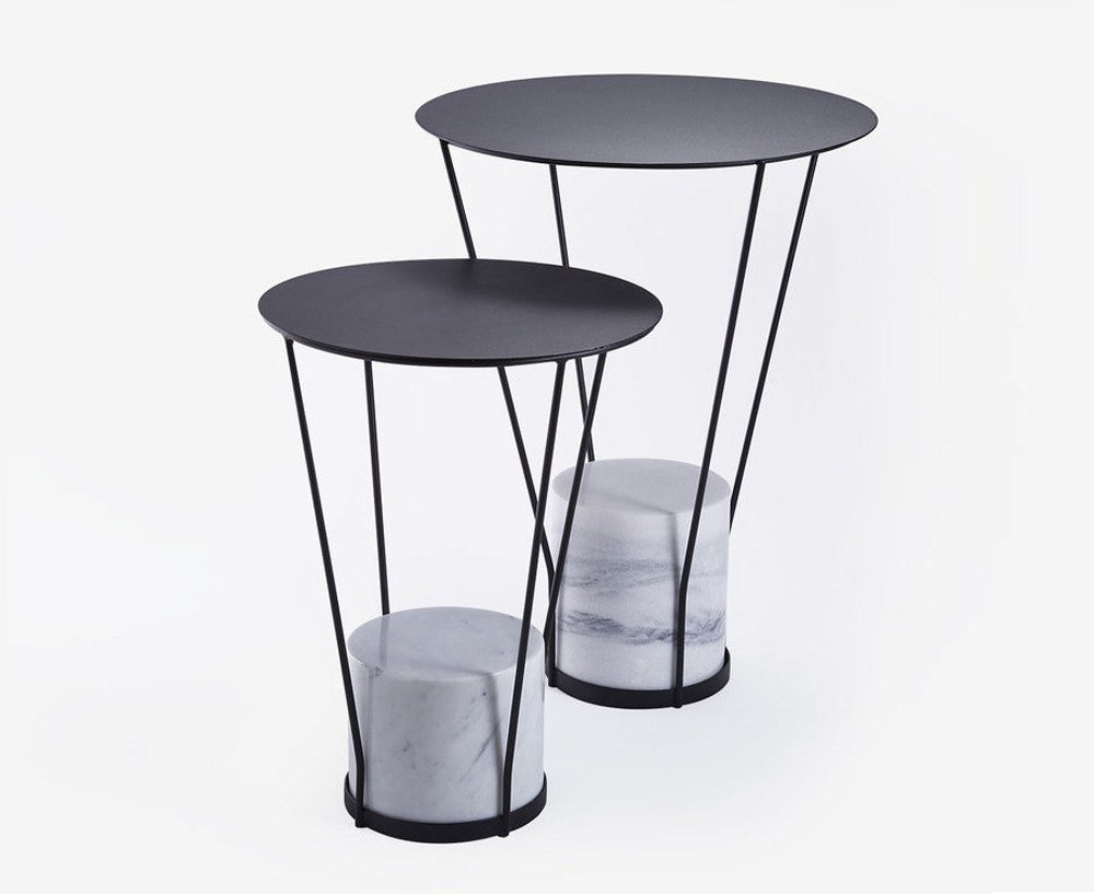 Lest S Side Tables with Whit Marble Base