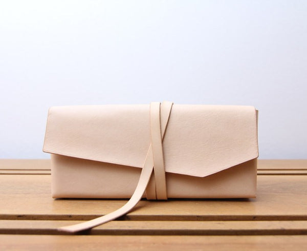 Loess Leather Wrap Clutch