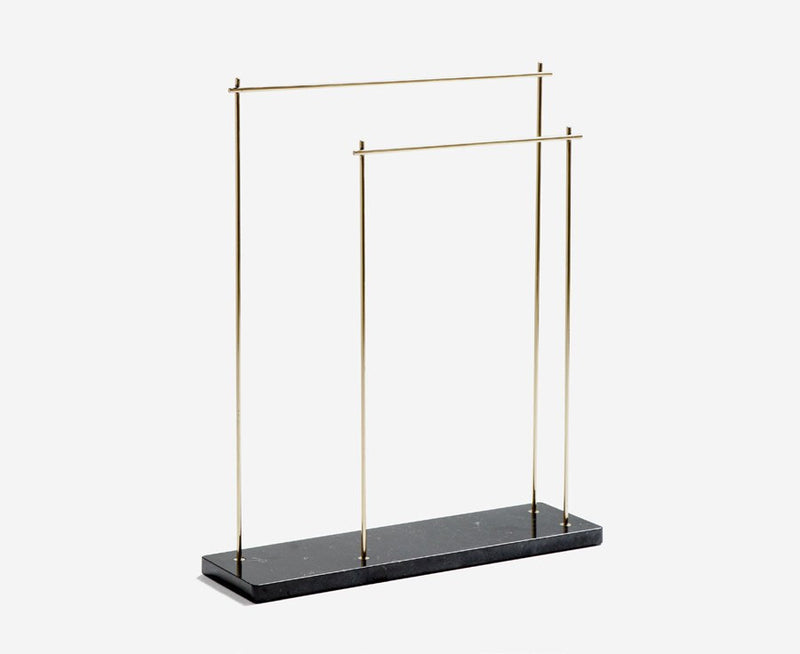 Industrial Marblelous Blanket / Clothes Rack - Marquina & Brass