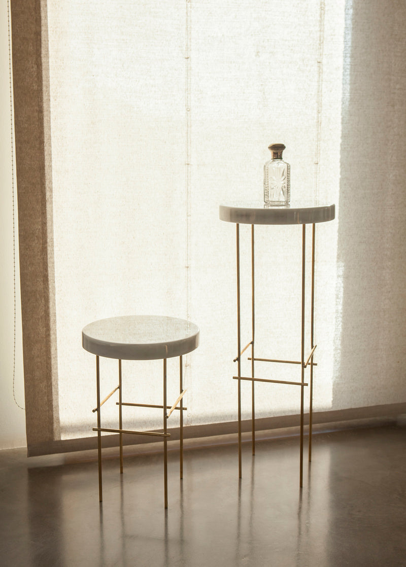 Industrial Marblelous Pedestals in Carrara & Brass | DSHOP