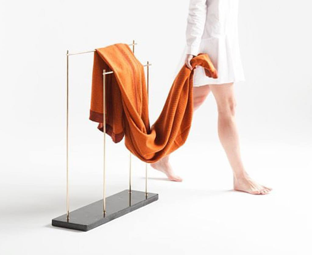 Industrial Marblelous Blanket / Clothes Rack - Marquina Marble