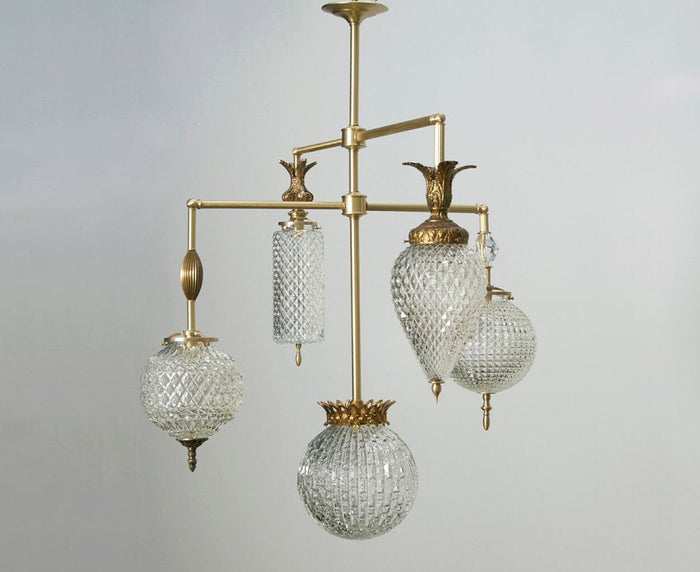 Brilliant Chandelier - 5 Arm With Vintage Jewelry - Brass