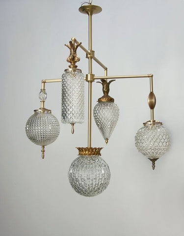 Brilliant Chandelier - 5 Arm With Vintage Jewelry