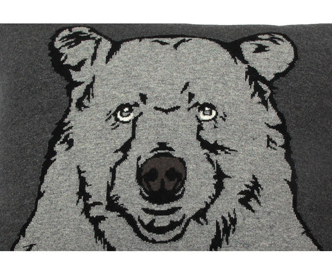 Bear Cashmere Blend Pillow - Anthracite Gray