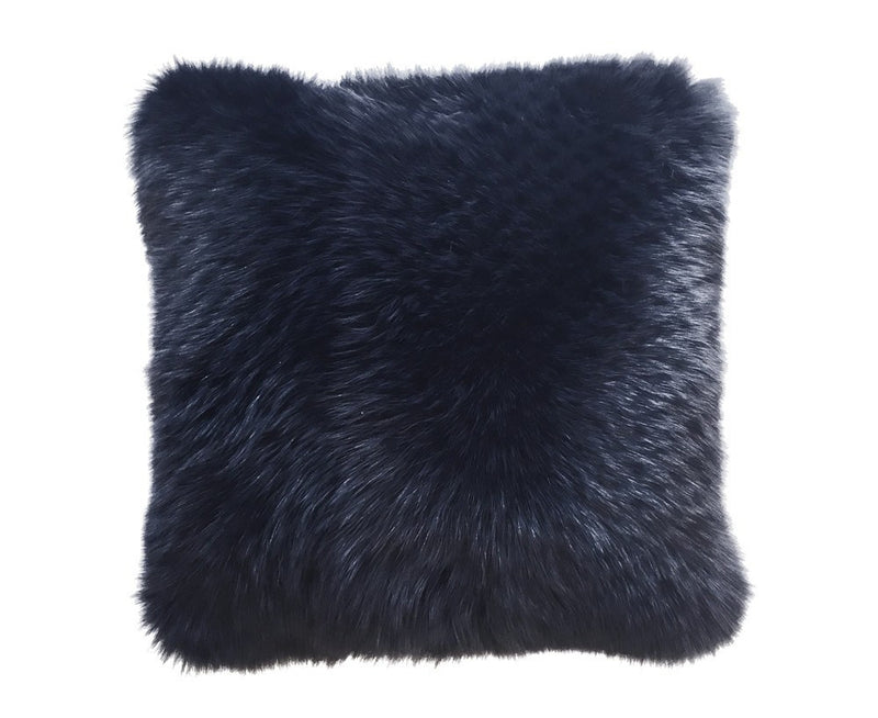 Regina Fur Pillow - Navy Blue