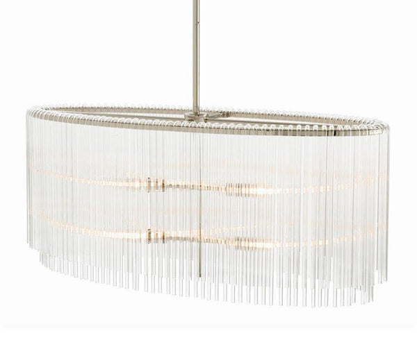 Royalton Oval Chandelier | Glass & Nickel