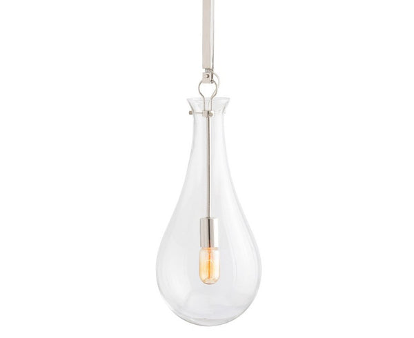 Sabine Pendant - Polished Nickel & Glass