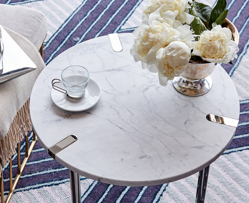 Sereno Marble End Table - Carrara Marble