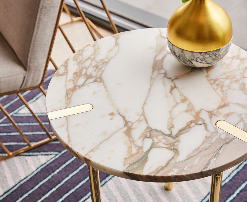 Sereno Marble End Table - Calacutta Marble