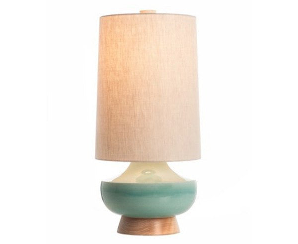 Vanderbilt Table Lamp - Blue Crackle + Maple
