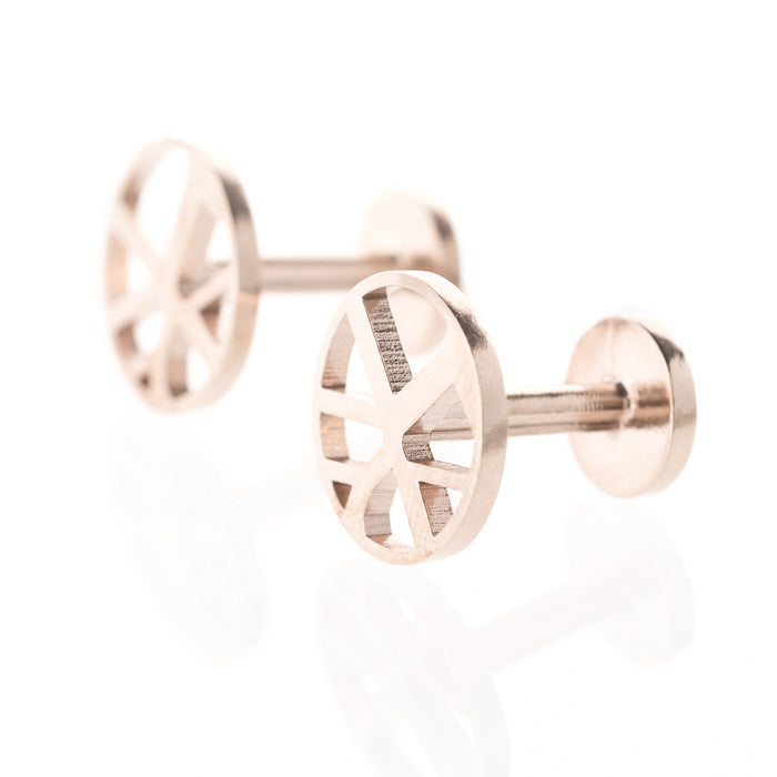 Voronoii MAN raw bronze cufflinks round