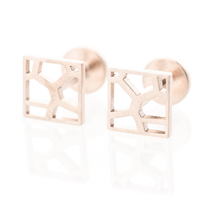 Voronoii MAN raw bronze cufflinks square