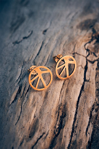 Voronoii raw bronze stud earrings