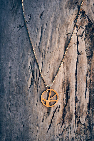 Voronoii raw bronze pendant short