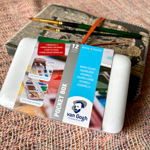 Van Gogh Pocket Box Watercolour 12 colours half pans + brush