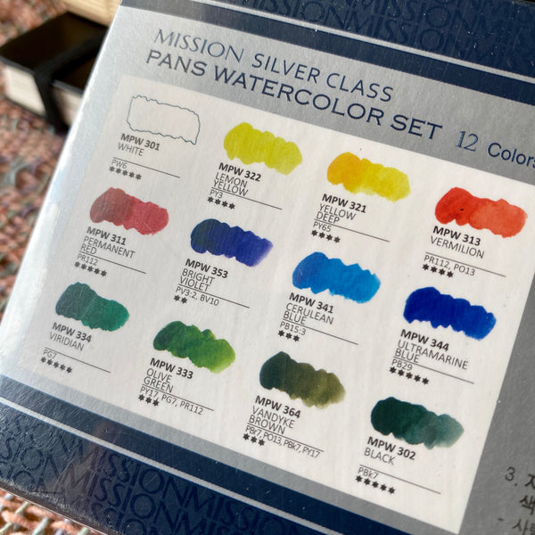 Mijello Mission Silver Class Watercolour 12-colour pan set
