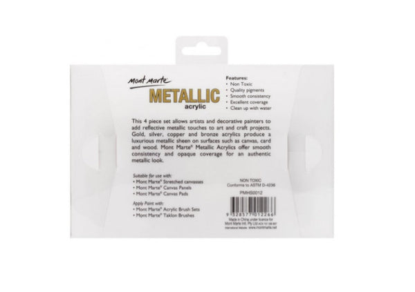 Mont Marte Metallic Acrylic 4-colour set | 50ml