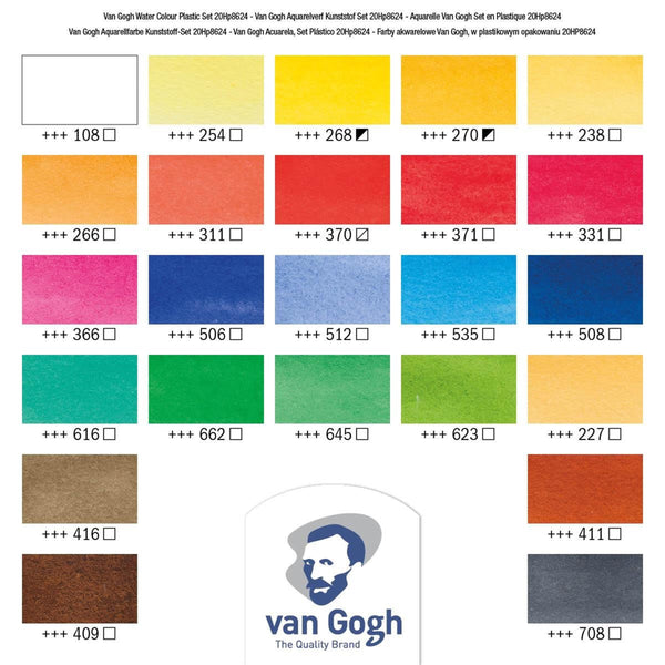 Van Gogh Watercolour 24 colours half pans + brush