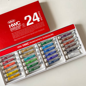 Holbein Artists' Watercolours 5ml tubes | 24 colours set