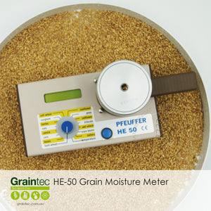 Pfeuffer HE50 Grain Moisture Meter - Includes calibration settings for soft wheat, hard wheat, barley, sorghum, oats, corn, canola, beans, sunflowers, peas, safflower, triticale, wet wheat and soy beans  | graintec.com.au