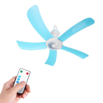 Hanging Portable 5 Blades Mini Ceiling Fan W/ Remote Control