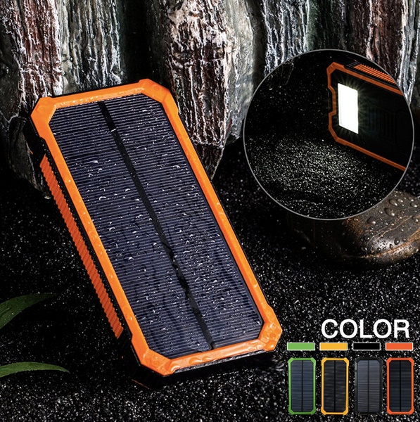 Waterproof Portable Solar Charger Power Bank For Phone Dual USB Battery 8000mAh