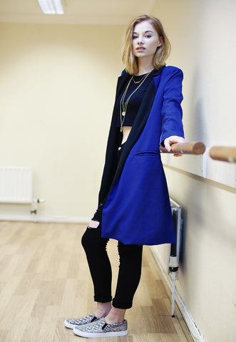 Royal Blue Longline Blazer With Contrast Lapel