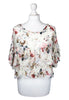 Chiffon Tierred Top In Floral Print (White)